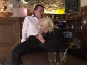 cougar walks in a bartender jerking it