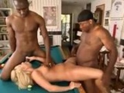 Two blacks take a blonde and pocket their balls - Interracial creampie