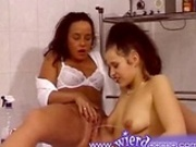 German lesbians give themselves enemas in a bath