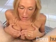 Skinny big tit MILF sucking and titty fucking