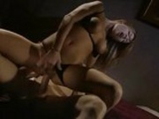 Gorgeous brunette in sexy lingerie gets double fucked