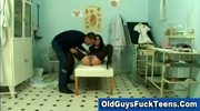 Old guy finger fucks hot younger babe