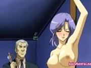 Busty hentai babe gets masturbated