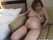 Pregnant Japanese girl eats toyed