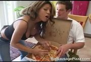 Baylee likes her pizza with giant cock!