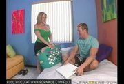 Big tit blonde MILF Sara Jay fucks her sons friend.