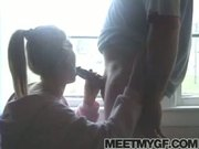 Cute blonde girlfriend fucks her boyfriend