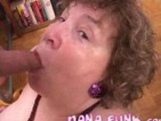 Lusty granny Nana Funk sucking on white cock