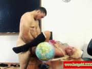 Blonde euro hottie pounded on table