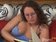 Holly blows and get a nice cumshot on her glasses 