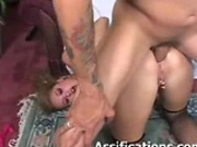 This slut gets her ass penetrated by a hard cock