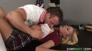 Seductive blonde teen enjoys fucking her prof