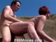 Hot redhead fucked outdoor