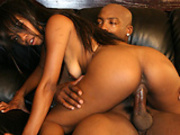 Horny Ebony Riding a big black cock 