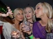 Drunk girls getting naughty in bar
