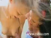 Two Russian chicks sucking friends cock