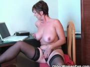 Classy grandma Joy gets fingered deep and masturbates with dildo up her ass