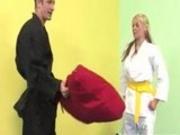 After A Hard Fuck Sara Vandella Licks Her Karate Masters Cum Off The Floor