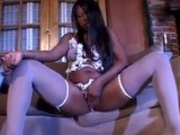 Big Ass Ebony In Stockings Masturbates