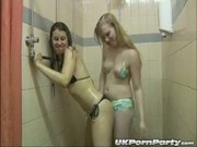 UK pornstars Maisie Dee and Satine Spark get soapy in the shower