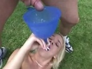 Drinking Cum Thru A Funnel