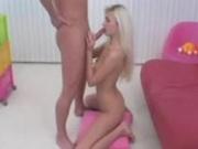Slutty blonde teen deepthroats