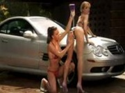 Car Wash And Outdoor Threesome