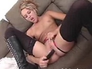 Horny blonde Laurie Ann making herself happy by masturbating