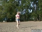 Teen sensation Kaylee Rain does video shoot on the beach