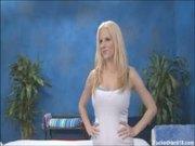 Big tit blonde isn't shy at her massage
