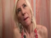 French mature in fishnet double fucked