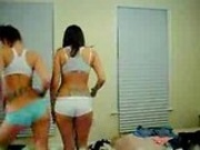 Two chicks in there panties dancing and acting stupid