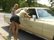 Two Blonde Hitchhikers Go For A Wild Ride Up A Dirty Road