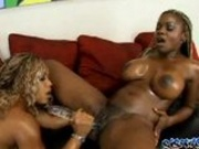 Chesty ebony poked by large dildo