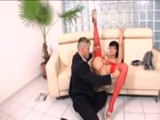 Petite secretary Aletta Ocean in red lingerie fucking at work