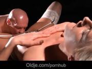 Baldy grandpa fucks a loving dicks blonde slut