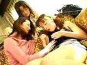 Japanese girls kinky kiss