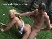 Kinky blonde from belgium fucking her man on the grass