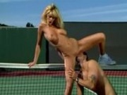 Blonde fucking on tennis field