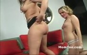 Horny blonde MILF and sluty daughter masturbate together