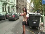 Young guy have fun with an old prostitute