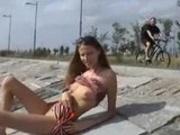 Russian Girl Strips Outdoor