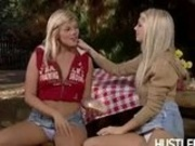 Lesbians Jana Foxy and April Aubrey in outdoor sex