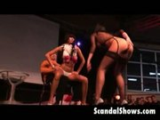 Female strippers out of control at sex show