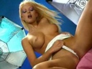 Blonde doll rubbs it out