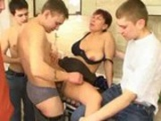 Russian MILF Pleasing Crowd Of Cocks