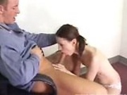 Andrea Anderson giving her professor a good blowjob