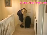 Pantyhose Stewardess In Authentic Flight Attendant Uniform
