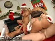 Pornstars getting pounded hard by Santas big dick