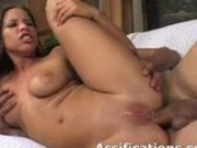 Busty latina takes it deep inside her ass